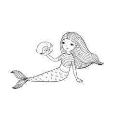 beautiful little mermaid and shell siren vector image vector image