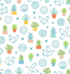 Birds and succulents doodle pattern vector image vector image