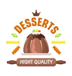 Cake shop badge with warm chocolate pudding vector