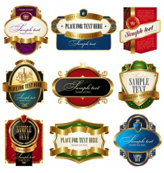 collection of golden ornate labels vector image vector image