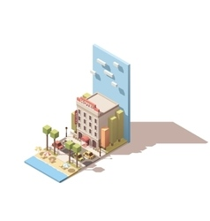 isometric hotel building vector image vector image
