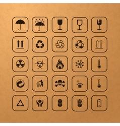 Set of black cargo symbols vector image vector image