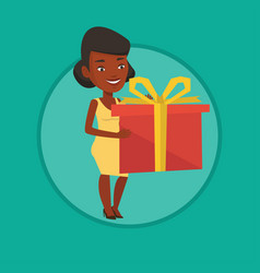 african-american woman holding box with gift vector image vector image