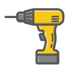 electric drill filled outline icon build repair vector image