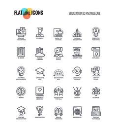 flat line icons design-education and knowledge vector image vector image