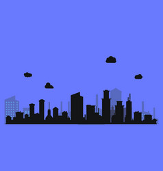 silhouette level city with clouds and purple vector image vector image