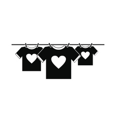 T-shirts with heart icon vector image vector image