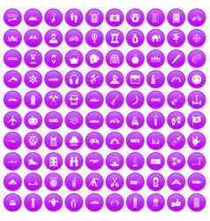 100 adventure icons set purple vector image
