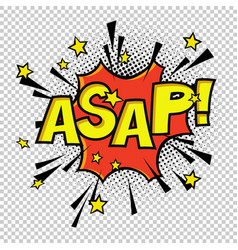 asap comic sound comic speech bubble halftone vector image