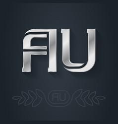 Au - abbreviation australia metallic 3d icon vector