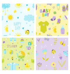 Baby Boy Background Set - Seamless Patterns vector