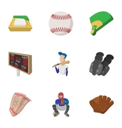 Baseball sport icons set cartoon style vector image