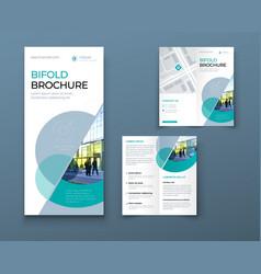 bi fold brochure or flyer design with circle vector image