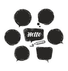 Black speech bubble set doodle vector