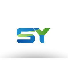 blue green sy s y alphabet letter logo vector image vector image