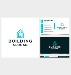 Building logo design with letter b initial concept vector