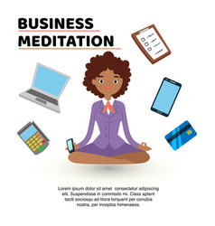 business meditation woman with mobile phone vector image