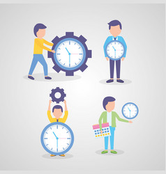 business people clocks time vector image