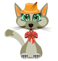 Cat in hat and with bow vector