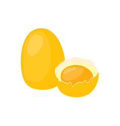Chicken egg with broken half icon healthy eating vector