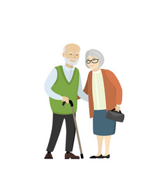 Couple older people grandmother and grandfather vector