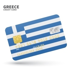 Credit card with Greece flag background for bank vector image