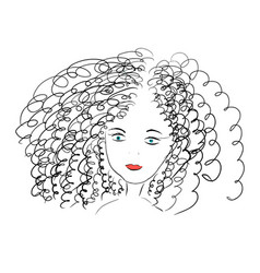 curly girl with blue eyes vector image
