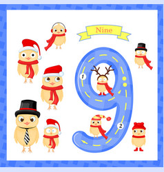 Cute children flashcard number one tracing with 9 vector