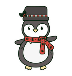 cute penguin with hat and scarf celebration merry vector image