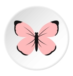 Cute pink butterfly icon flat style vector