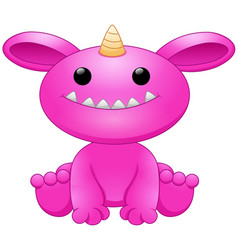cute pink monster cartoon vector image