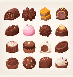 Delicious dark and white chocolate candies vector