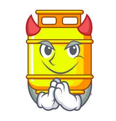 Devil creative in gas cartoon tank container vector