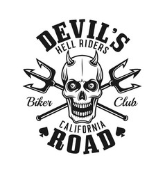 Devil skull and tridents biker club emblem vector