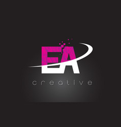 Ea e a creative letters design with white pink vector