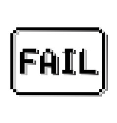 Fail pixel stamp old video game design text vector