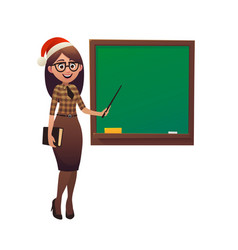 Female teacher in santa claus hat shows with vector
