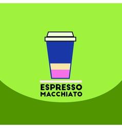Flat icon design collection espresso macchiato to vector