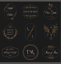 floral border and logo design templates 02 vector image