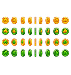 game icons set of gold and green coin clover for vector image