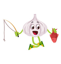 garlic with fishing rod on white background vector image