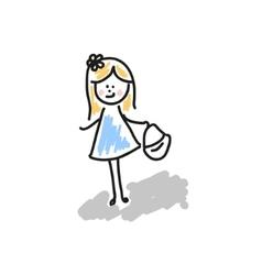 Girl walks drawing vector image