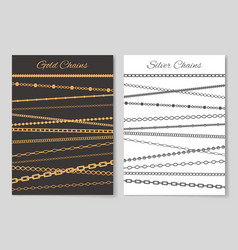 Gold and silver chains advertisement banners set vector