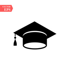 graduation hat icon isolated on white vector image