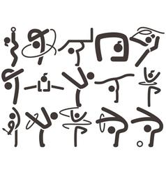 Gymnastics rhythmic icons vector