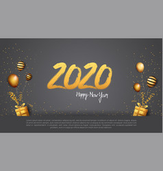 Happy new year 2020 golden number isolated vector