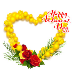 happy womens day march 8 text yellow mimosa and vector image