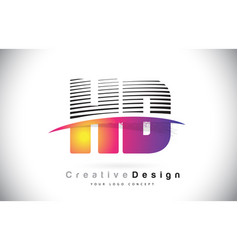 Hd h d letter logo design with creative lines and vector