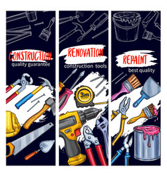 House repair and painting work tool sketch banner vector