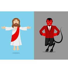 Jesus and devil Christ and Satan Son of God and vector
